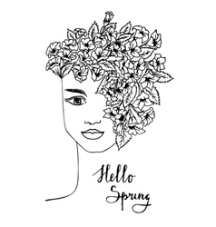 Black and white spring girl with flower hair vector image vector image