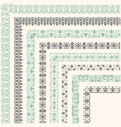 Decorative seamless ornamental border with corner vector image