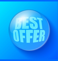 blue bubble with offer symbol vector image vector image
