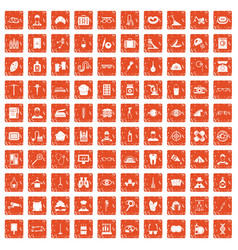 100 profession icons set grunge orange vector