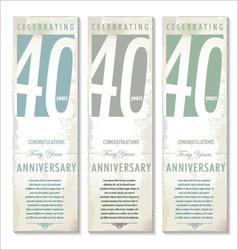 40 years Anniversary retro banner set vector image vector image