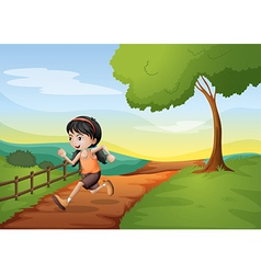 A girl running hurriedly at the hill vector image vector image
