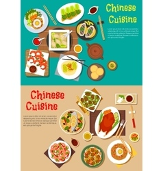Healthy seafood and meat dishes of chinese cuisine vector image vector image