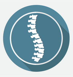 Icon spine diagnostics on white circle with a vector