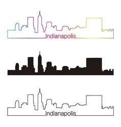 Indianapolis skyline linear style with rainbow vector image vector image