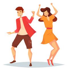 man and woman girl and boy dancing at disco vector image