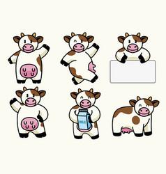 Set of cute cow vector
