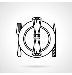Table set black line icon vector image