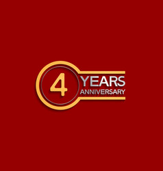 4 years anniversary golden and silver color vector