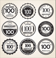 Anniversary retro vintage black and white badges vector