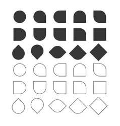 black solid and line empty circle and squares set vector image