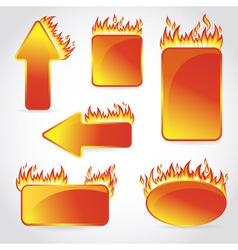 Burning with fire design sale stickers and tags vector