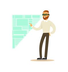 Businessman wearing vr headset working in digital vector
