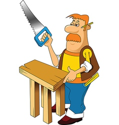 Carpenter with saw vector