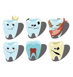 cartoon set teeth a collection patients vector image