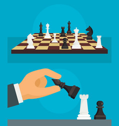 chess banner set flat style vector image