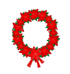 Christmas Wreath of Red Poinsettia Flowers and Bow vector image