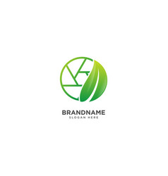 Cinema logo design with leaf movie symbol icon vector