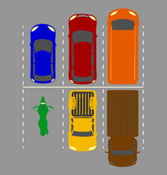 City parking lot with a set of vector
