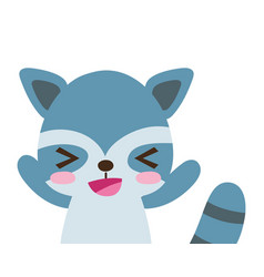 Colorful adorable and cheerful raccoon wild animal vector