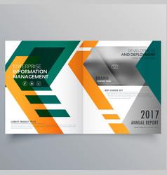 creative geometric bi fold brochure design vector image