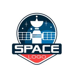 Creative logo with cosmic satellite astronautics vector