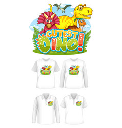 cutest dino font and dinosaur cartoon character vector image