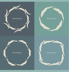 decorative floral frames with leaves silhouettes vector image