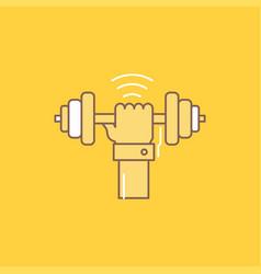 Dumbbell gain lifting power sport flat line vector