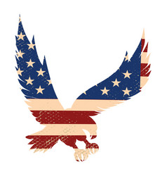 Eagle silhouette on the usa flag background vector