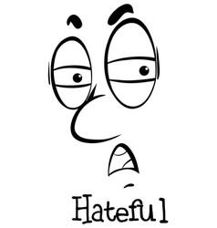 facial expression doodle in black outline vector image
