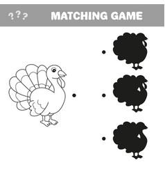 Find correct shadow - turkey farm bird vector