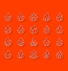 fire simple paper cut icons set vector image