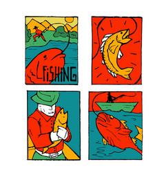 Fishing poster set vector