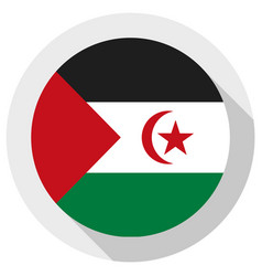 Flag western sahara round shape icon on white vector