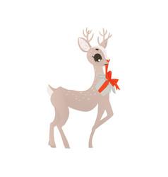 Flat christmas reindeer holding present box vector