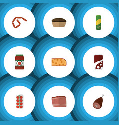 Flat icon eating set of fizzy drink tart meat vector