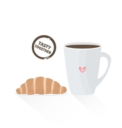 French croissant with cup of coffee vector