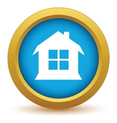 Gold house icon vector