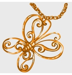 Golden butterfly pendant on a chain vector