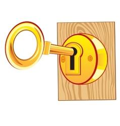 Golden key in lock vector