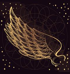 golden wing on purple background design element vector image