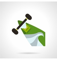 Green longboard flat icon vector image