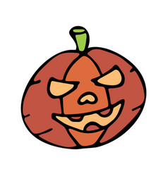 happy halloween color icon with pumpkin vector image