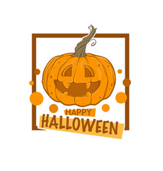happy halloween logo label emblem with sketch vector image