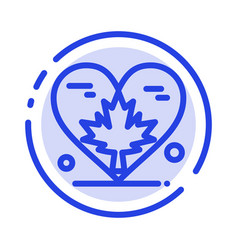Heart love autumn canada leaf blue dotted line vector