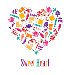 Heart made colorful sweets vector