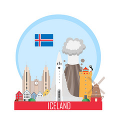 Iceland national attractions background vector