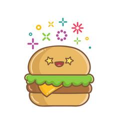 kawaii hamburger sandwich icon cartoon vector image