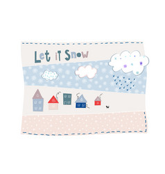 let snow flakes fall winter baby season postcard vector image